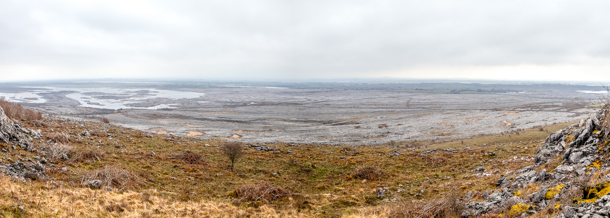 Panorama of part of the Burren from the lower slope of Mullaghmór Mountain - WCF-31.jpg