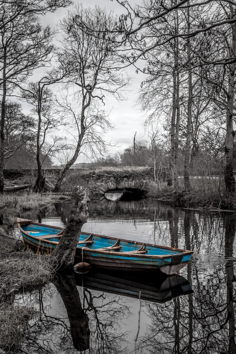 Blue boat on a small stream near Ross Castle. WCF-6527.jpg
