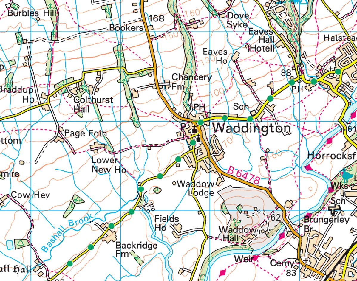 Part of the OS map near Waddington, red-dashed lines are public footpaths.