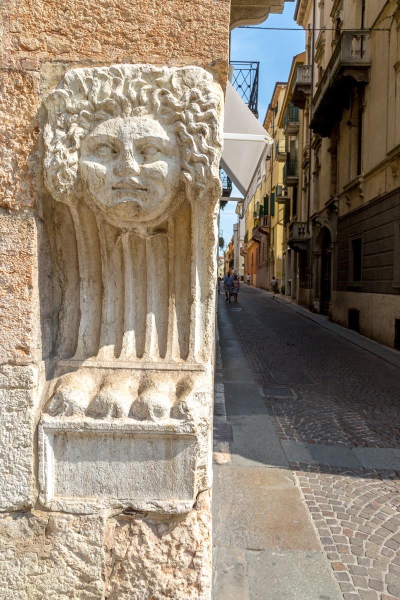 Mask of Medusa in Corso Porta Borsari in Verona, Italy.
