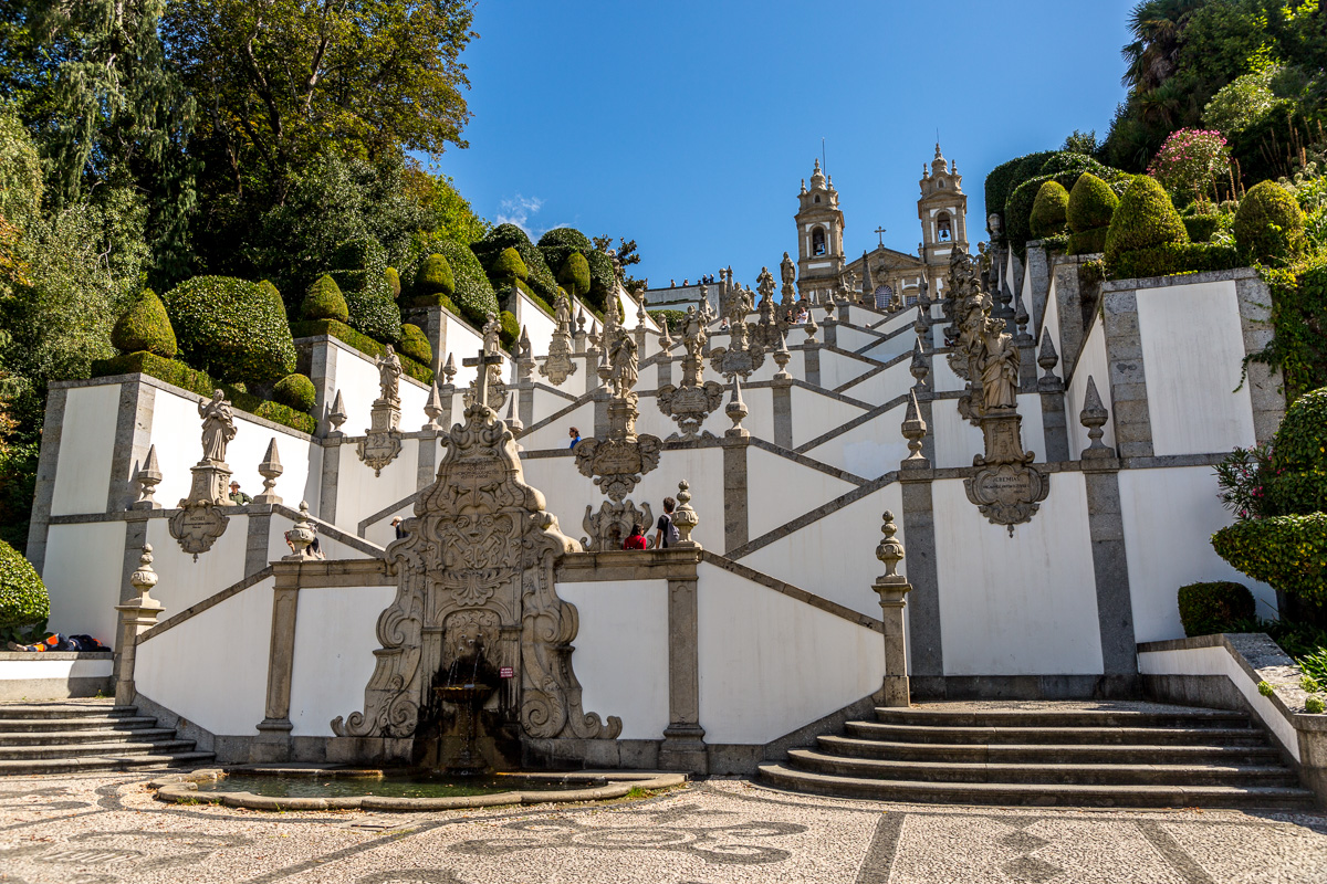 The 18th century Baroque stairway at Bom Jesus do Monte leading up to the 19th century Santuário do Sameiro (Sanctuary of Sameiro). - WCF-1889.jpg