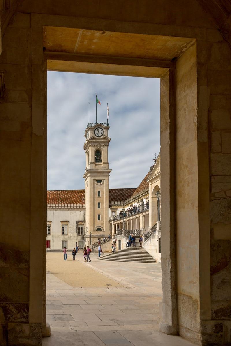 "View of the Torre da Universidade de Coimbra through the ""Iron Gate,"" the university's main entrance designed in 1634. - WCF-3293.jpg"
