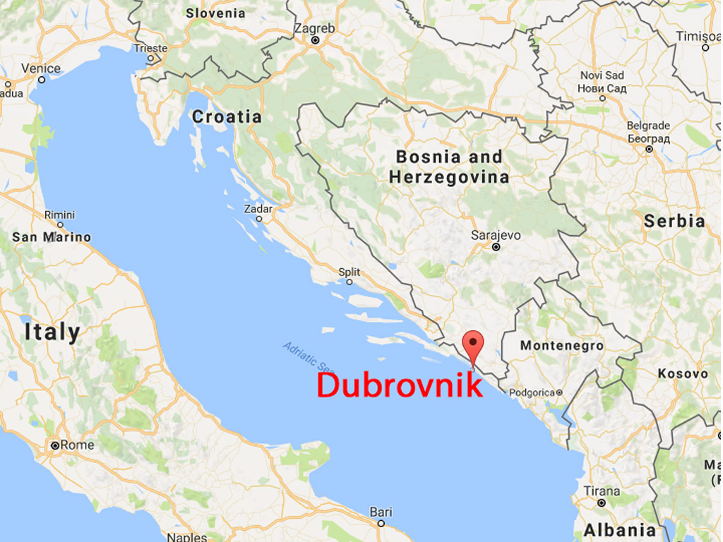 Map of Croatia with Dubrovnik