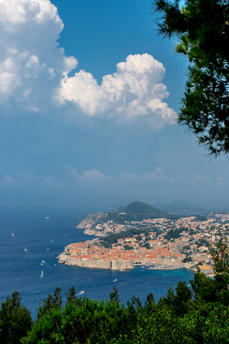 View of Dubrovnik, Croatia from the D8 highway.