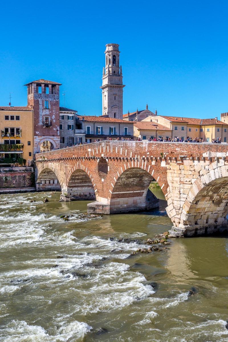 Ponte Pietra (Stone Bridge) over the Adige river, Verona, Italy WCF-2526.jpg