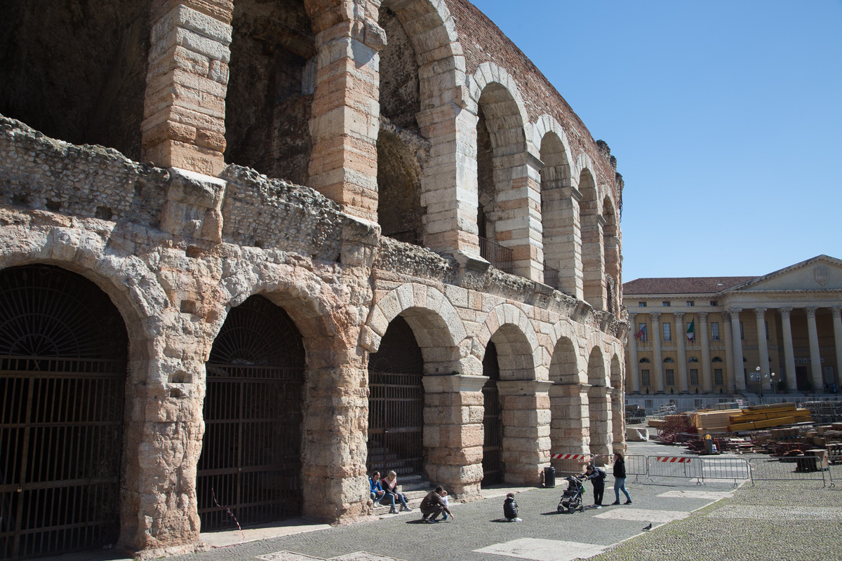 The Verona Arena is a Roman amphitheatre in Piazza Bra built in the first century. WCF-2569.jpg