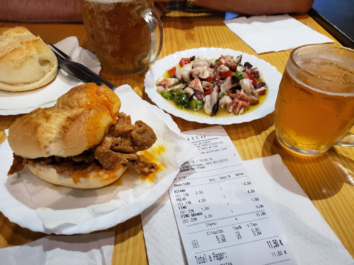 Bifana pork sandwich and Salada de Polvo (Octopus Salad), and of course beer. - WCF-191046.jpg