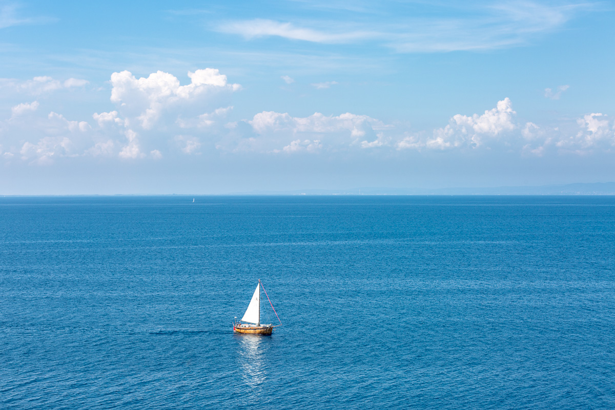 Boat sailing off the coast at Piran, Slovenia. - WCF-9476.jpg