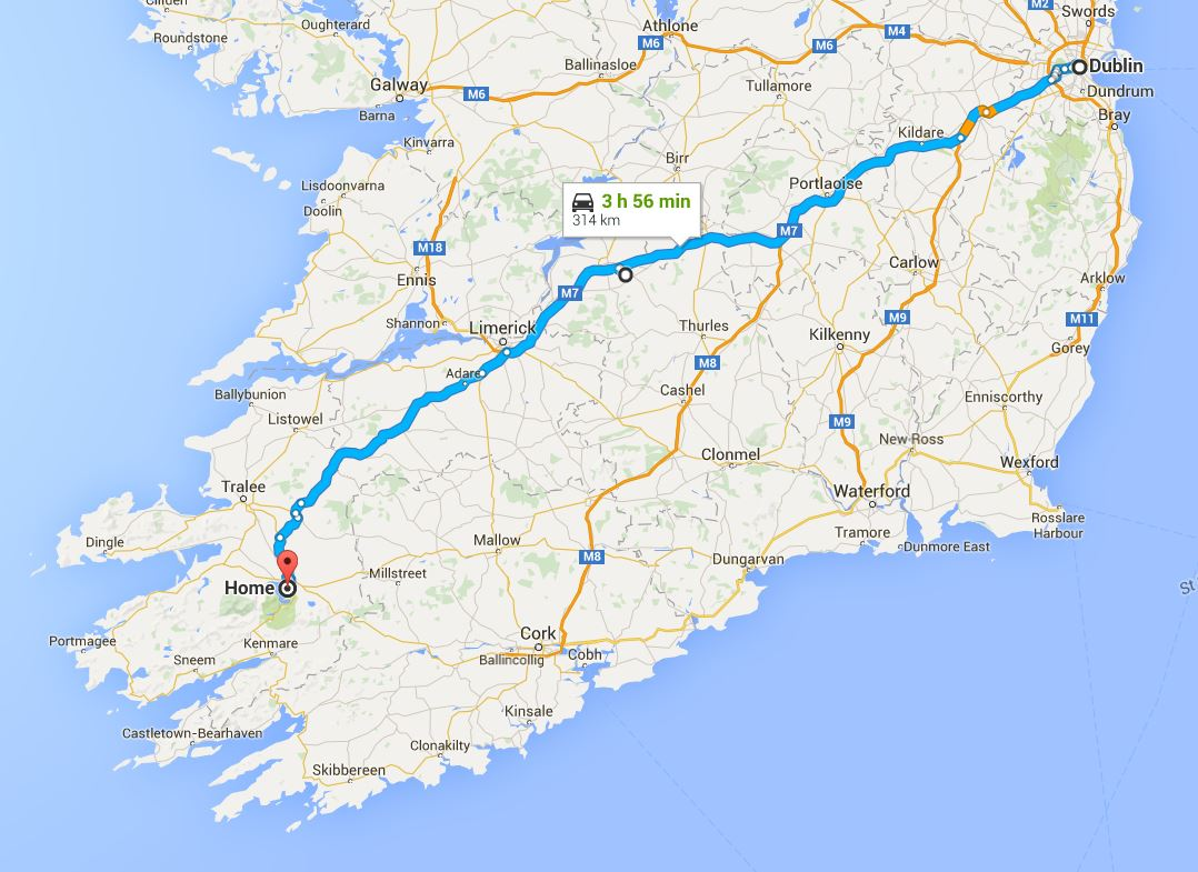 The route from Dublin-to-Killarney