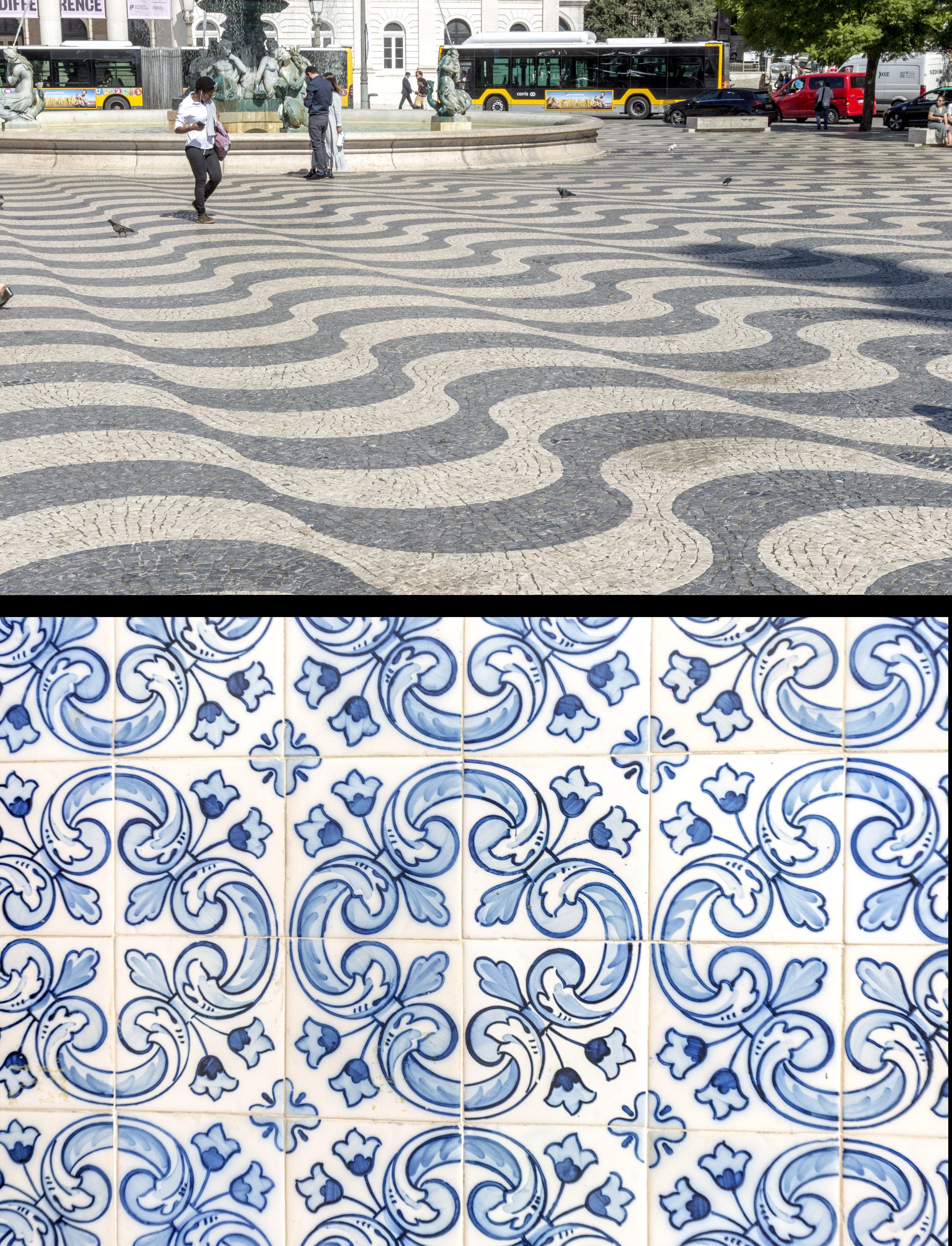 Calçada portuguesa (top) - Azulejos (bottom)