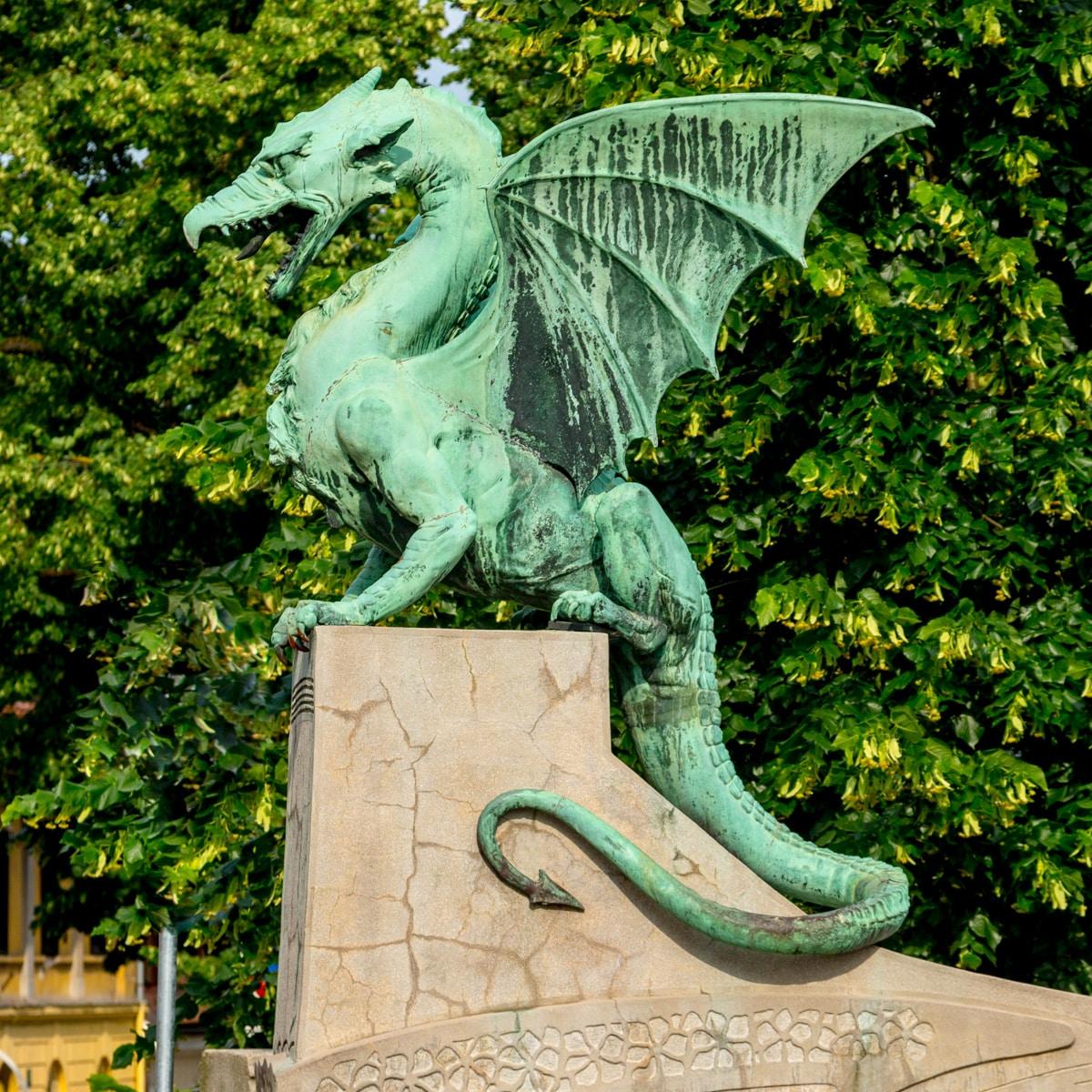 One of four dragons on the Dragon Bridge.