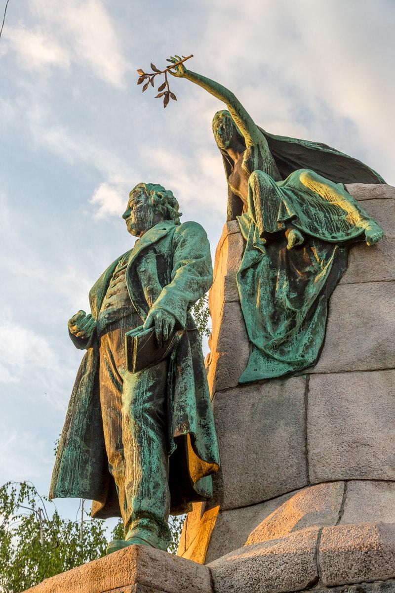 Statue of Slovene national poet France Prešeren with a muse.
