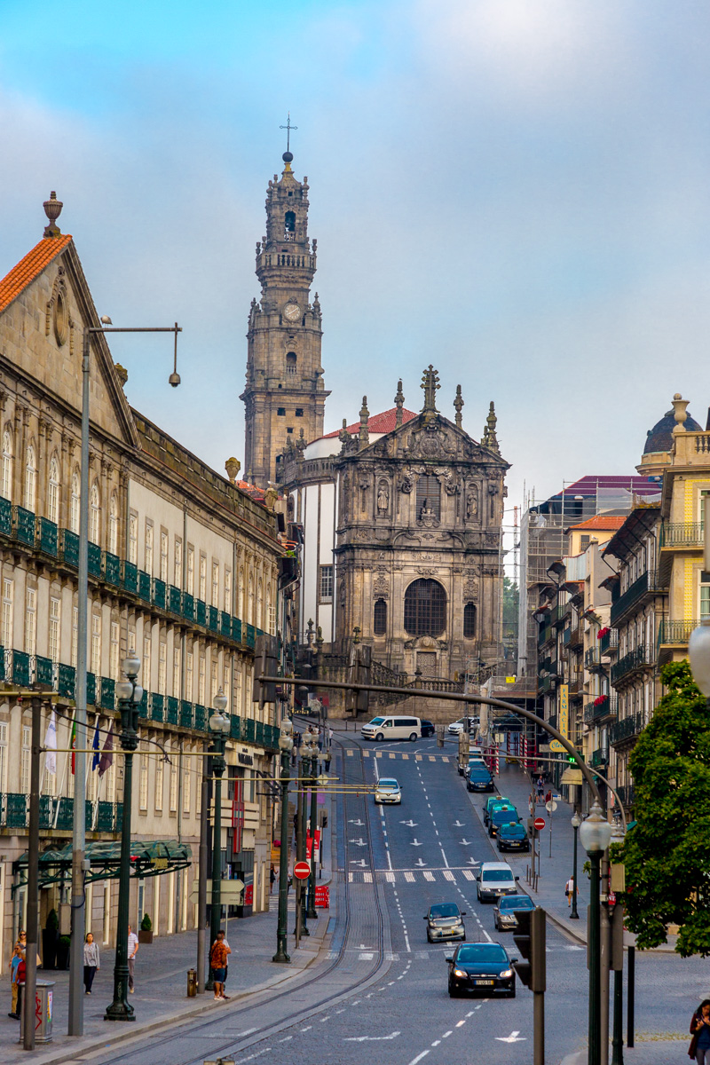 View down Rua dos Clérigos in Porto, Portugal toward the baroque Igreja dos Clérigos with its tower. - WCF-9610.jpg
