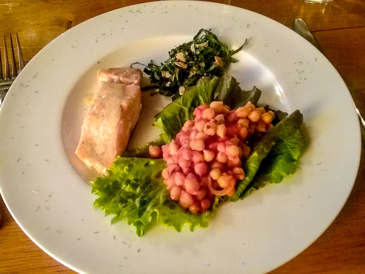 Salmon with beurre blanc sauce, broccoli leaf salad with almonds, and seasoned chickpeas, yummm. - WCF-203443.jpg