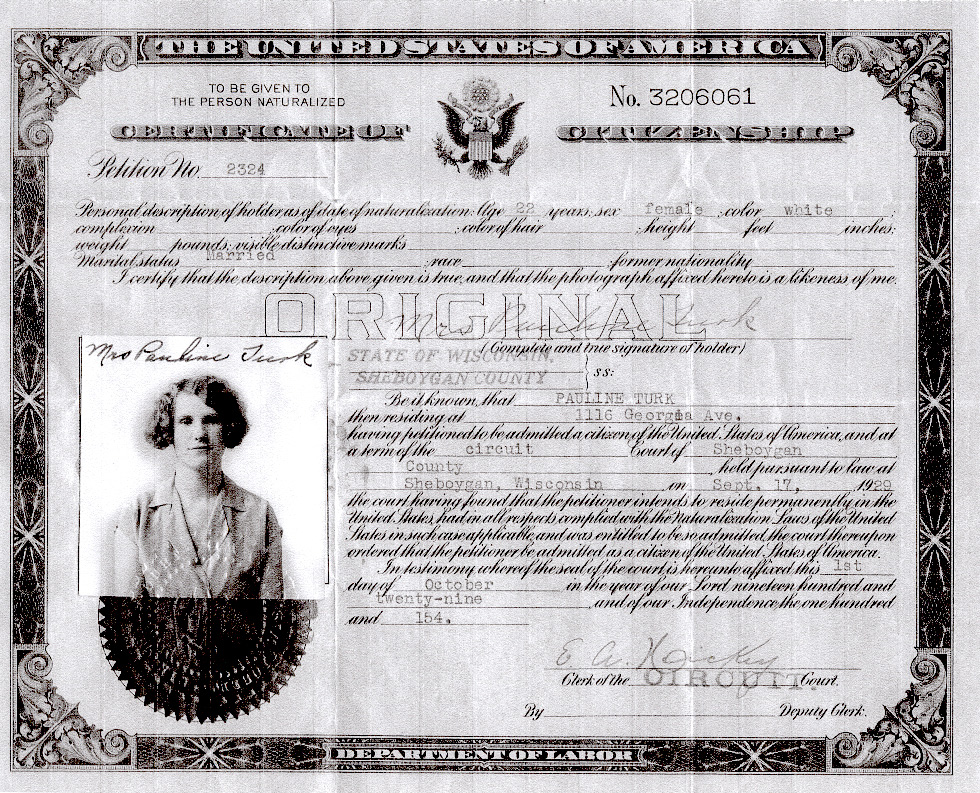 Grandmother Turk's Citizenship document