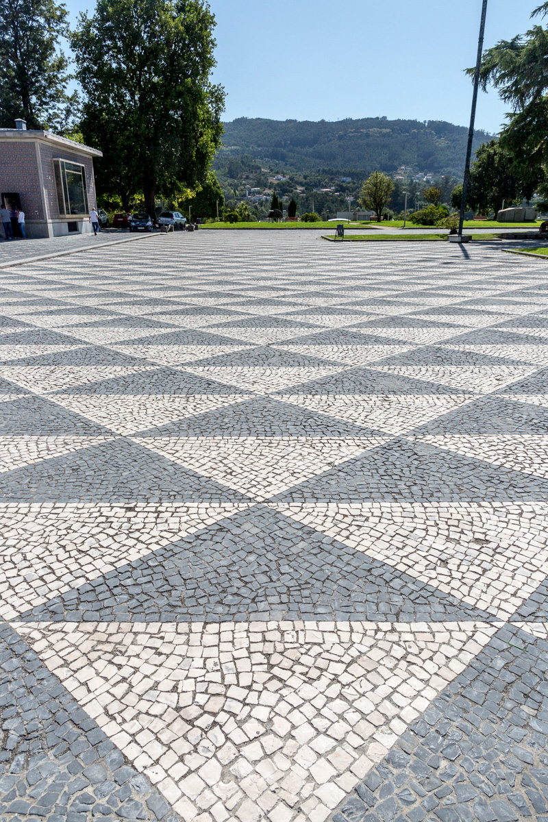 Calçada Portuguesa or Portuguese pavement, a traditional-style pavement used for many pedestrian areas in Portugal, like here in Santo Tirso. - WCF-0914.jpg