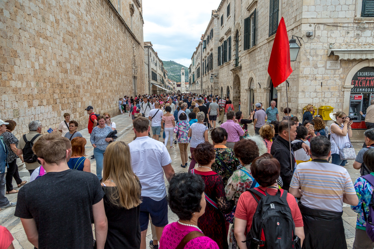 On a slow day, tourists fill Stradun, the main street of the Dubrovnik Old Town. - WCF-2720.jpg