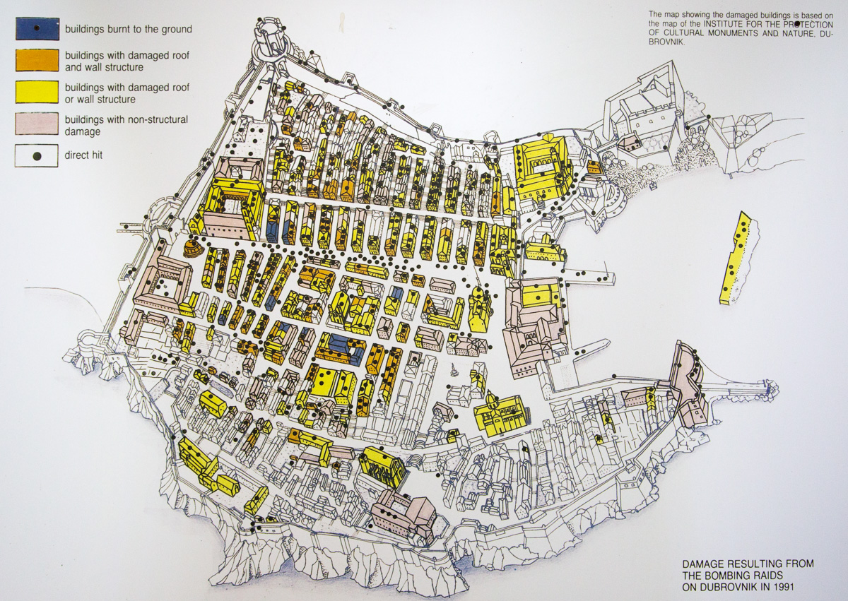 Map of Dubrovnik showing direct artillery hits, burned, or damaged during the Siege on Dubrovnik in 1991. - WCF-2868.jpg
