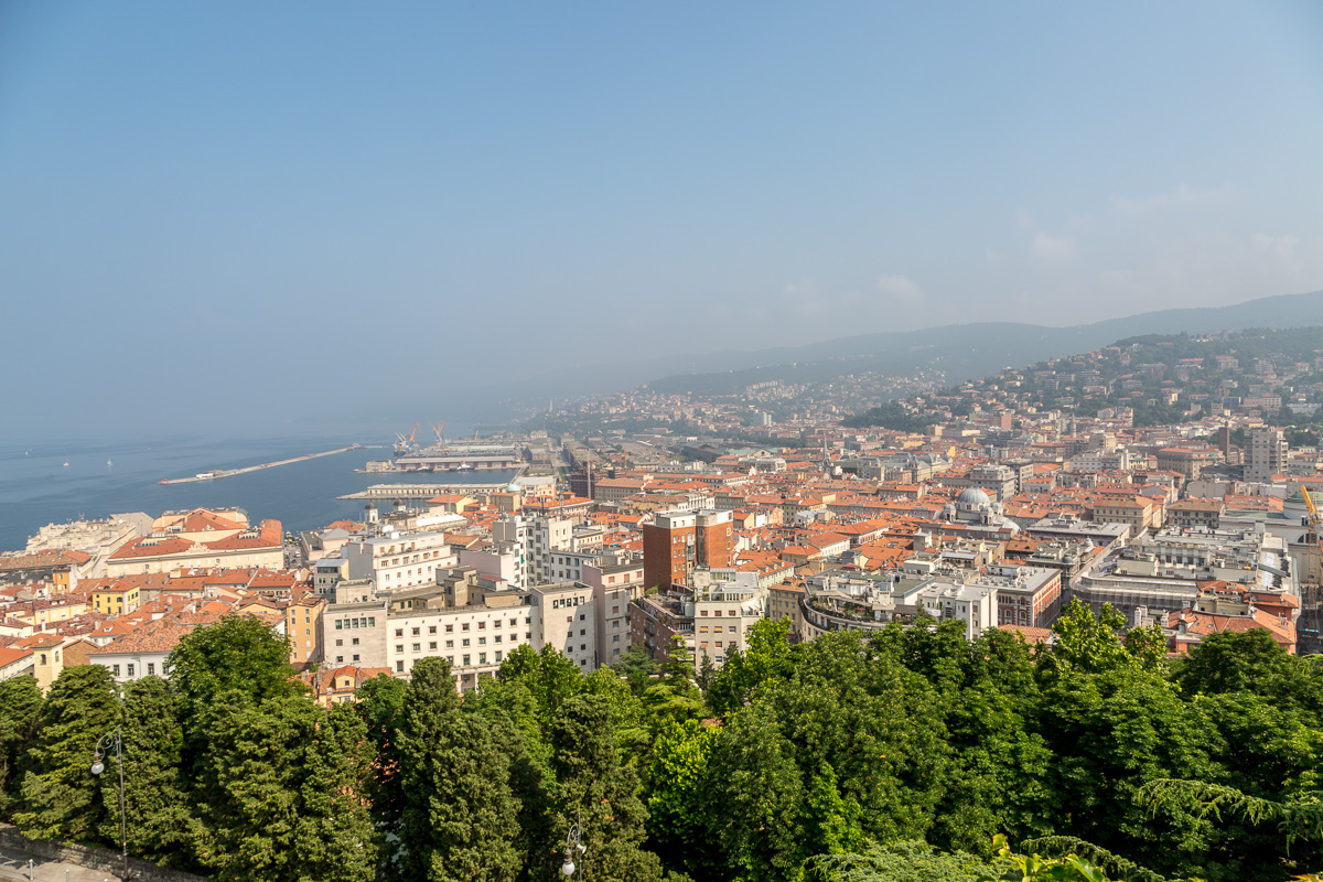Views over Trieste and the sea from the hill of San Giusto.