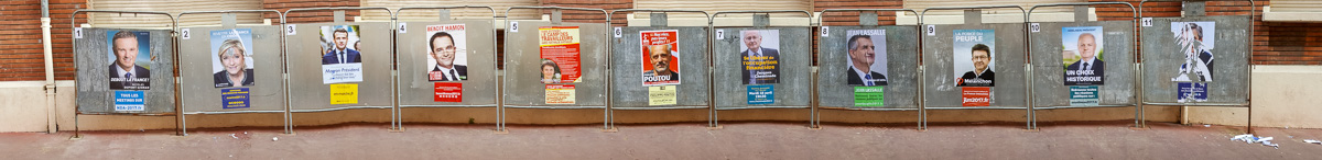 Campaign signs or posters are rare except for these next to a voting station. - WCF-101332.jpg